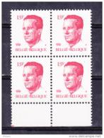 BELGIQUE COB 2203 ** MNH BLOC DE 4, GOMME BLANCHE. (4TJ31) - 1981-1990 Velghe