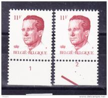 BELGIQUE COB 2085  ** MNH PAIRE AVEC NR PL 1/2, GOMME VERTE. (4TJ23) - 1981-1990 Velghe