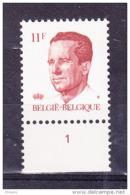BELGIQUE COB 2085 ** MNH AVEC NR PLANCHE 1, GOMME BLANCHE. (4TJ20) - 1981-1990 Velghe