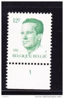 BELGIQUE COB 2113 ** MNH AVEC NR PLANCHE 1, GOMME JAUNE. (4TJ14) - 1981-1990 Velghe
