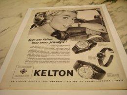 ANCIENNE PUBLICITE PRIVILEGE MONTRE KELTON  1959 - Bijoux & Horlogerie