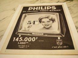 ANCIENNE PUBLICITE TELEVISEUR 54 CM PHILIPS 1959 - Music & Instruments