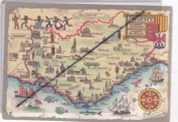 Carte Façon Parchemin ;Régions Provence, Comtat Venaissin,Comté De Nice / Illustrée - Provence-Alpes-Côte D'Azur