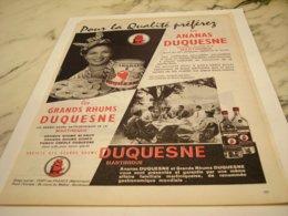 ANCIENNE PUBLICITE  RHUM ET ANANAS DUQUESNE  1959 - Alcohols