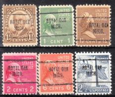 USA Precancel Vorausentwertung Preo, Locals Michigan, Royal Oak 704, 6 Diff. - Vereinigte Staaten