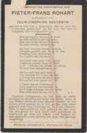 Oorlogsslachtoffer, Gesneuveld, 1914, Pieter Rohart, Baudewyn, Lier, Beigem, Beyghem - Devotion Images