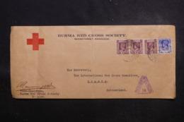 BIRMANIE - Enveloppe Croix Rouge De Rangoon Pour Genève En 1941 Avec Cachet De Censure - L 45960 - Burma (...-1947)