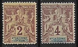 NOUVELLE-CALEDONIE N°42 ET 43 N**  Fournier - Unused Stamps