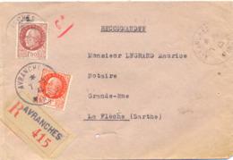 RECOMMANDÉ AVRANCHES MANCHE  TàD 7-9-43 - Postmark Collection (Covers)