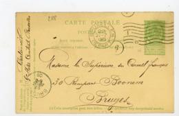"BELGIQUE - ENTIER Yt N° ? TYPE BLASON 5Cts OBL. FLAMME ""BRUXELLES 1906"" & ""BRUGES"" + CACHETS FACTEUR - Postwaardestukken"