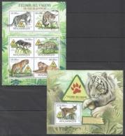 B192 2012 MOZAMBIQUE MOCAMBIQUE FAUNA WILD CATS FELINOS SELVAGENS EM VIAS DE EXTINCAO 1SH+1BL MNH - Big Cats (cats Of Prey)