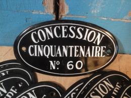 Ancienne Plaque Émaillée Concession Cinquantenaire Sign Cabinet Curiosité - Reclameplaten