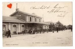 03109-LE-44-PORNIC-La Gare------------animée-attelages--------cachet Ambulant : PORNIC A NANTES - Guingamp