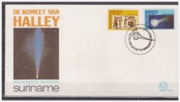 Surinam / Suriname 1986 FDC 102 Comet Of Halley Komet Comete Different Postmark - Surinam