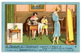 CPA    PUBLICITE SINGER BESANCON   -  LA COUTURE A L ELECTRICITE  -  COUTURIERE DEVANT MACHINE A COUDRE - Advertising