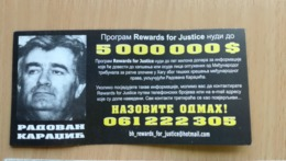 SERBIA BOSNIA RADOVAN KARADZIC WANTED Promo AD ADVERT FLYER BROCHURE REWARD JUSTICE FOR INFORMATION EX YUGOSLAVIA  BILL - Militari