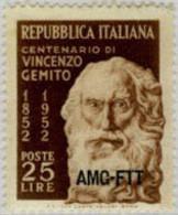 Ref. 167219 * NEW *  - TRIESTE A Zone . 1952. CENTENARY OF THE BIRTH OF VINCENZO GEMITO. CENTENARIO DEL NACIMIENTO DE VI - Trieste