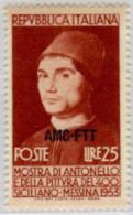 Ref. 593140 * HINGED *  - TRIESTE A Zone . 1953. MUESTRA DE ANTONELLO DE MESSINA Y DE PINTURA SICILIANA - Trieste