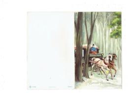 Double Cpm Paillettes - Illustration J.L. - Bonne Année - Diligence Attelage Chevaux Cocher Neige - Système  Intérieur - New Year