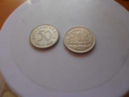 GERMANY  THIRD  REICH    1934   -  1943    50  CENTS   1  MARK     D   MINT  -  HIGH GRADE - [ 4] 1933-1945: Drittes Reich