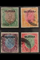 1937  1r - 10r Complete With Burma Ovpts, SG 13/16, Good To Fine Used With Some Minor Faults. (4 Stamps) For More Images - Burma (...-1947)