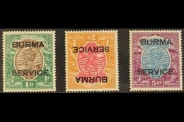 1937  Official 1r, 2r (inverted Watermark), And 5r, SG O11, O12w, O13, Very Fine Mint. (3 Stamps) For More Images, Pleas - Burma (...-1947)