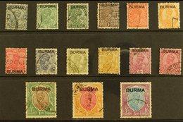 1937  Overprints On India (King George V) Set Complete To 5r, SG 1/15, Fine Used. (15 Stamps) For More Images, Please Vi - Burma (...-1947)