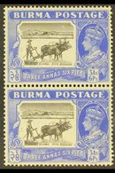 1946  3a6p Black And Ultramarine With CURVED PLOUGH HANDLE In Vertical Pair With Normal, SG 57ba+57b, Mint. For More Ima - Burma (...-1947)