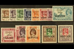 """OFFICIALS  1947 Interim Government Complete Set With """"SERVICE"""" Overprints, SG O41/O53, Never Hinged Mint. (13 Stamps) Fo - Burma (...-1947)"""