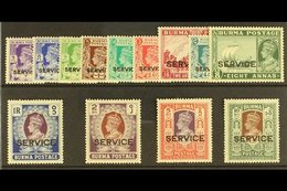 OFFICIALS  1939 Set Complete, SG O15/O27, Very Fine Mint (13 Stamps, 5r With Perf Faults) For More Images, Please Visit  - Burma (...-1947)