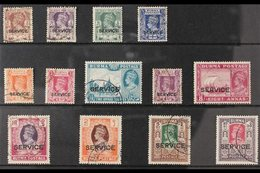 """OFFICIALS  1946 KGVI """"SERVICE"""" Ovpts Complete Set, SG O28/40, Very Fine Used (13 Stamps) For More Images, Please Visit H - Burma (...-1947)"""
