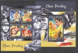 SS413 2016 S. TOME E PRINCIPE FAMOUS PEOPLE ELVIS PRESLEY 1KB+1BL MNH - Elvis Presley