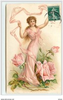 N°2349 - Carte Gaufrée -Femme Avec Un Ruban - Roses - Femmes