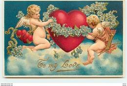 N°8445 - Carte Fantaisie Gaufrée - To My Love - Angelots Mettant Une Guirlande De Fleurs Autour D'un Coeur - Saint-Valentin