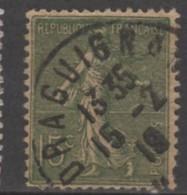 Semeuse Lignée 15 Vert Gris YT 130 I Oblitere Draguignan - 1903-60 Säerin, Untergrund Schraffiert