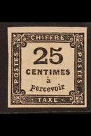 POSTAGE DUE  1871-78 25c Black (Yvert 5, SG D212), Mint Small Part Gum, Four Good To Large Margins, Light Wrinkles, Cat  - France