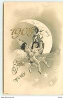 N°12643 - Bonne Année 1905 - Anges Près D'une Lune - Anno Nuovo