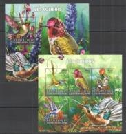 CA207 2015 CENTRAL AFRICA CENTRAFRICAINE FAUNA BIRDS HUMMINGBIRDS LES COLIBRIS KB+BL MNH - Colibris