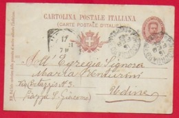 CARTOLINA POSTALE VG ITALIA - 1895 Effige Umberto I° Ovale - 10 C. - U. CP 25 - 9 X 14 - 1901 PORTOGRUARO - Interi Postali