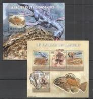 CA214 2015 CENTRAL AFRICA CENTRAFRICAINE FAUNA PREHISTORIC LIFE DINOSAURS & FOSSILES KB+BL MNH - Fossielen