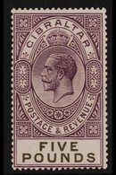 1925  £5 Violet And Black, SG 108, A Beautiful And Very Fine Mint Example Of This Classic Very High Value, Post Office F - Gibraltar