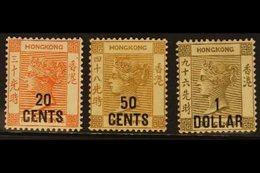 1885  20c On 30c, 50c On 48c & $1 On 96c, SG 40/2, Mint, Cat.£1350 (3 Stamps). For More Images, Please Visit Http://www. - Hong Kong (...-1997)