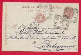 CARTOLINA POSTALE VG ITALIA - 1895 Effige Umberto I° Ovale - 10 C. - U. CP 25 - 9 X 14 - 1900 GEMONA PORTOGRUARO - Interi Postali