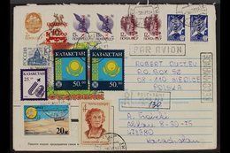 1993  (June) Registered Cover Addressed To Poland, Bearing Mixed Franking Of Soviet Union, Russi And Kazakhstan Stamps ( - Kazajstán