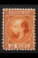 1867-69  15c Chestnut William III, Die I, Perf 12, SG 13, Fine Unused Without Gum, Cat £1200. For More Images, Please Vi - Netherlands