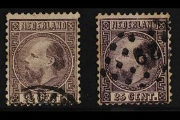 1867-69  25c Purple William III, Both Die I And Die II, SG 15 And SG 21, Good Used. (2 Stamps) For More Images, Please V - Netherlands