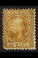 1867-69  50c Gold William III, Die I, SG 16 Or Michel 12 IA, Unused Without Gum, A Couple Of Thin Spots But Still Reason - Netherlands