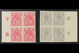1923  5c Bright Rose And 10c Pale Grey Imperf, SG 246/247, Each In Never Hinged Mint Marginal Blocks Of Four. (2 Blocks, - Netherlands