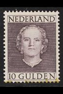 1949  10g Slate-violet Juliana Definitive Top Value, SG 701, Never Hinged Mint, Some Staining At Foot Near Bottom Perfs. - Netherlands