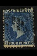 1862-68   4d Deep Blue, No Wmk, Perf 11 To 12½, SG 6, Fine Used. For More Images, Please Visit Http://www.sandafayre.com - St.Vincent (...-1979)
